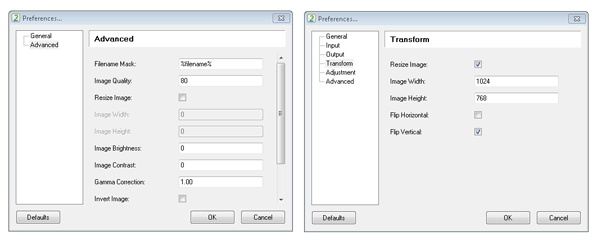 Image converter's settings (before and after)