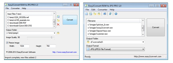 New and old GUI comparsion (image converter main window)