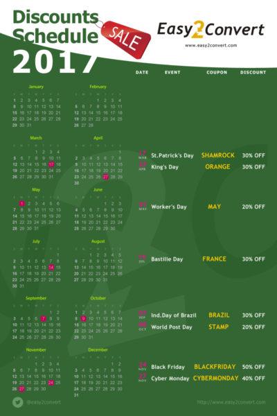 Discounts schedule 2017