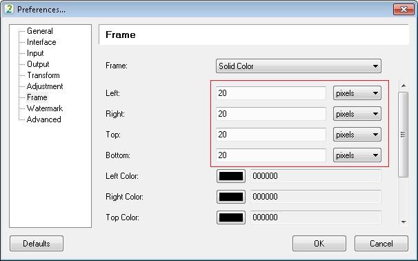 Set the frame margins