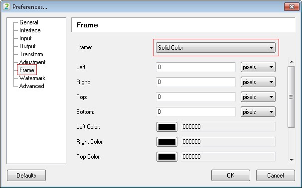 Go to the frame tool settings