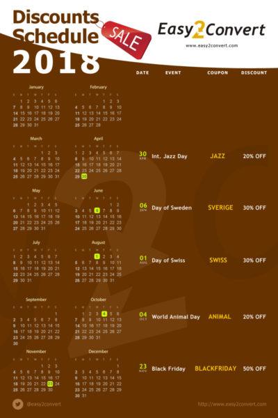 Discounts calendar 2018
