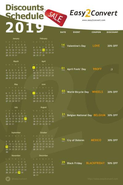 discounts calendar 2019