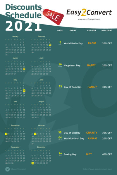 discounts calendar 2021